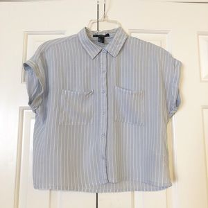 Forever 21 striped button down blue stripe top. S